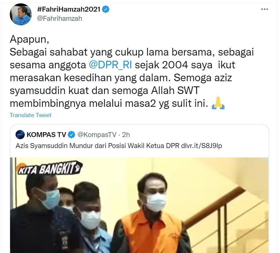 Fahri Hamzah mengaku ikut bersedih Azis Syamsuddin ditangkap KPK