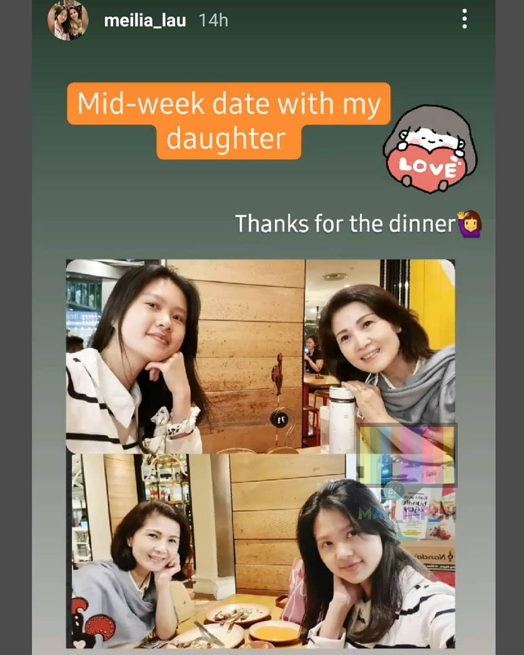 Felicia bersama sang ibu tengah makan malam di sebuah restoran.