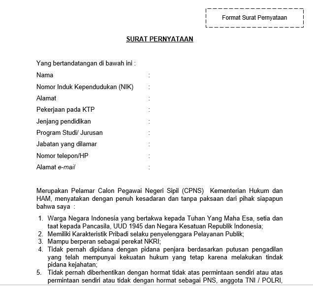 Format Surat Pernyataan CPNS Kemenkumham 2021 untuk Lulusan SMA Sederajat