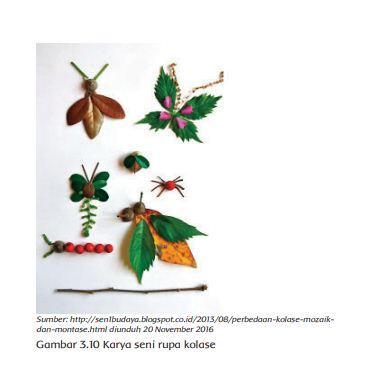 Gambar karya kolase, Buku Tematik Tema 7 Kelas 4 SD.