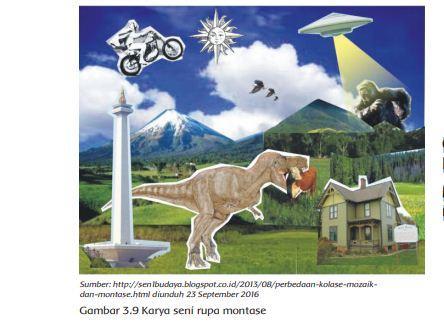 Gambar karya montase, Buku Tematik Tema 7 Kelas 4 SD.