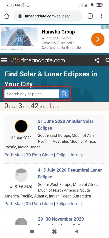 Cek jam berapa Gerhana Matahari Minggu, 21 Juni 2020, hari ini muncul di kotamu. (Tangkap layar timeanddate.com)