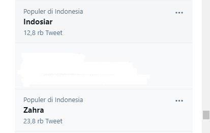 Indosiar dan Zahra trending Topic sejak Selasa 1 Juni 2021