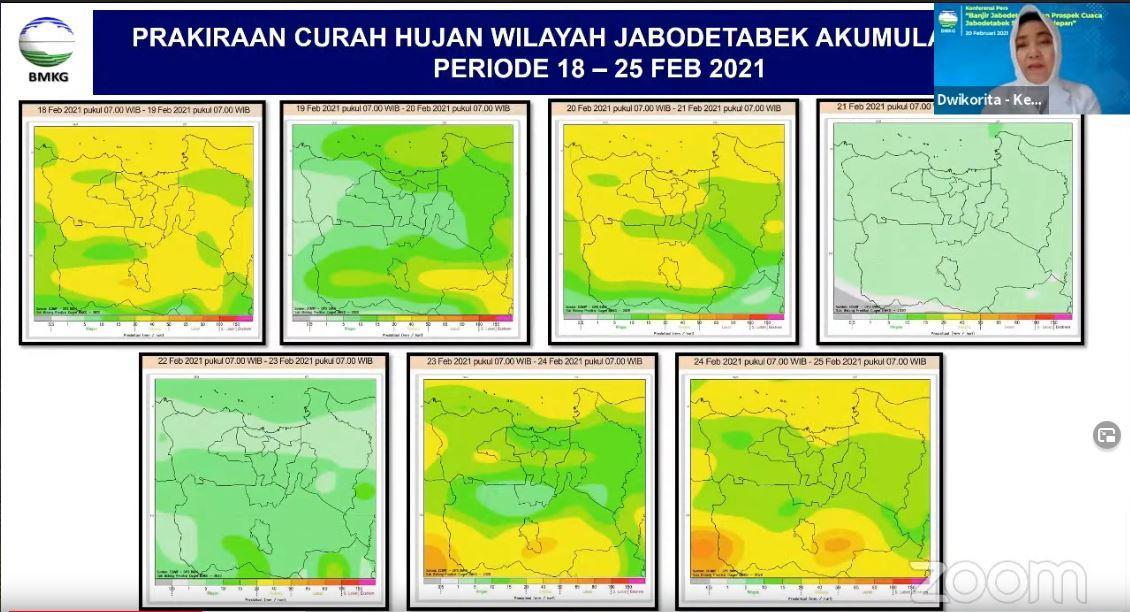 Badan Meteorologi Klimatologi dan Geofisika (BMKG) meminta masyarakat untuk mewaspadai akan terjadinya potensi hujan lebat pada 23-24 Februari di wilayah Jabodetabek.