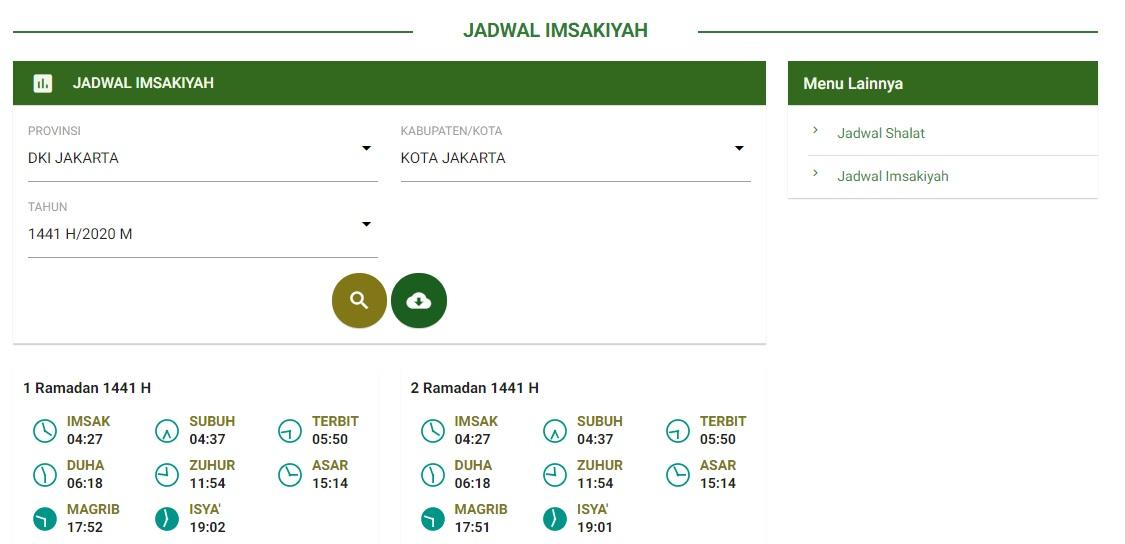Inilah jadwal imsakiyah dan buka puasa 1 Ramadan 1441 H/2020 M di seluruh kota-kota besar yang ada di Indonesia menurut laman Bimas Islam Kemenag.