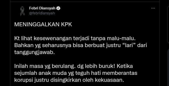Kata eks Juru Bicara Komisi Pemberantasan Korupsi (KPK) Febri Diansyah soal pemecatan 56 pegawai KPK yang tak lolos Tes Wawasan Kebangsaan (TWK).