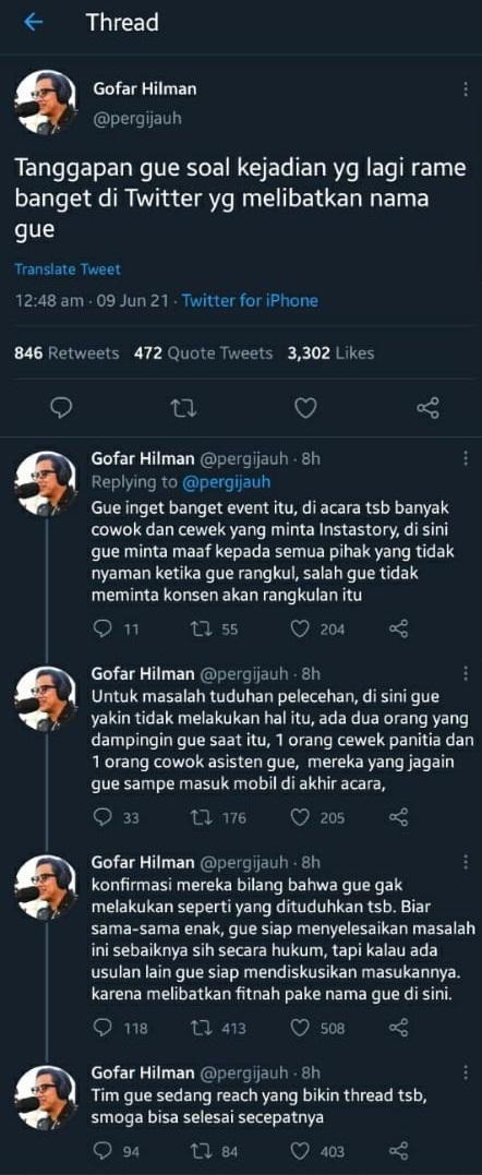 Klarifikasi Gofar Hilman saat disebut lakukan tindak pelecehan seksual
