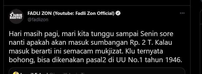 Komentar Fadli Zon soal dugaan hoaks donasi keluarga Akidi Tio