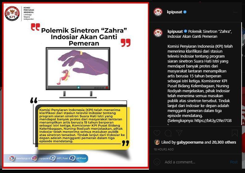 KPI keterangan dari pihak Indosiar terkait polemik sinetron Suara Hati Istri.