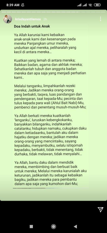 Krisdayanti mengunggah doa panjang jelang pernikahan Aurel dan Atta, Sabtu (3/4/2021).
