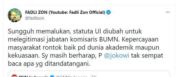 Kritik Fadli Zon soal revisi Statuta UI Rektor