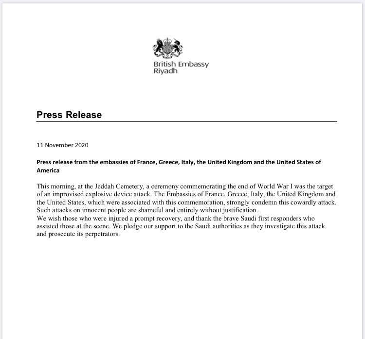 Pernyataan Kedubes Prancis, Yunani, Italia, Inggris, dan Amerika Serikat soal ledakan bom di Jeddah, Arab Saudi, yang terjadi pada Rabu (11/11/2020).