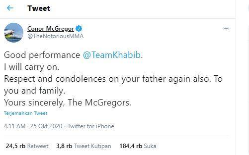 McGregor tanggapi keputusan pensiun Khabib Nurmagomedov
