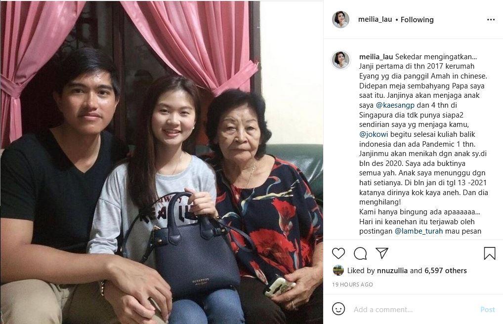 Unggahan Instagram @meilia_lau, Sabtu (6/3/2021), Kaesang disebut berjanji menikahi Felicia Tissue pada Desember 2020.