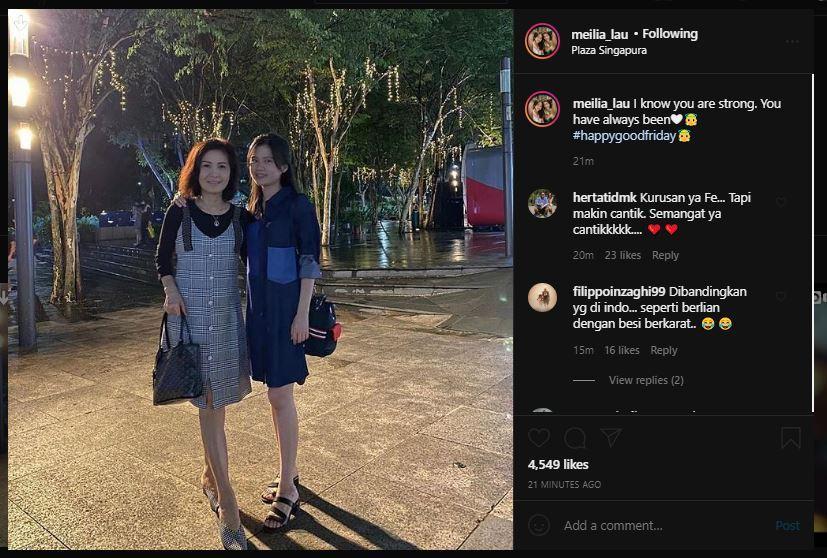 Meilia Lau juga mengunggah momen kebersamaannya dengan Felicia.