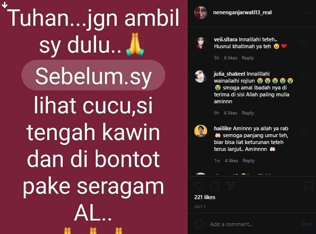 Neneng Anjarwati sempat tulis pesan terakhir diunggahan akun Instagram pribadinya.