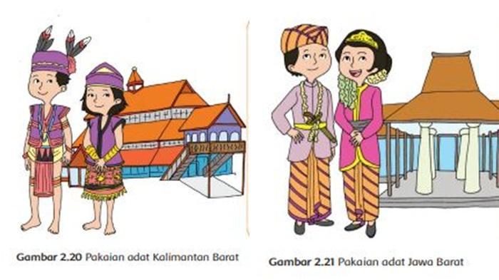 Pakaian Adat Kalimantan Barat dan Jawa Barat, Buku Tematik Tema 7 Kelas 4 SD.