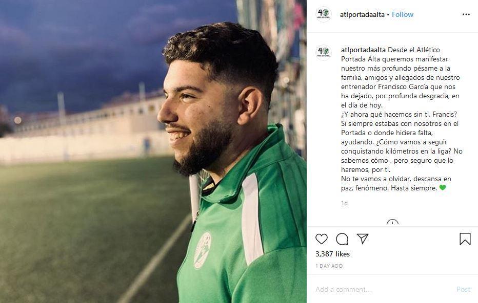 Pelatih sepakbola asal Spanyol, Francisco Garcia, meninggal dunia akibat virus corona