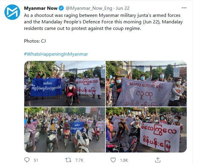 Baku tembak berkecamuk antara angkatan bersenjata junta militer Myanmar dan People's Defense Force di Mandalay