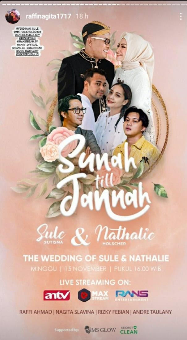 Pernikahan Sule dan Nathalie Holscher yang digelar besok siap disiarkan secara langsung.