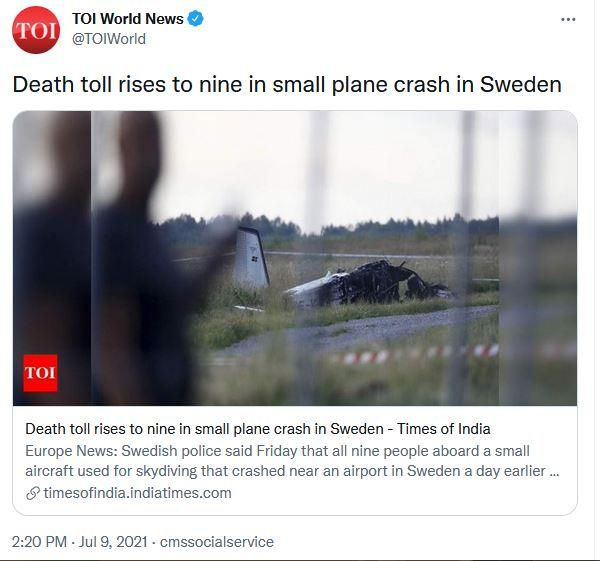 Pesawat jatuh di Swedia