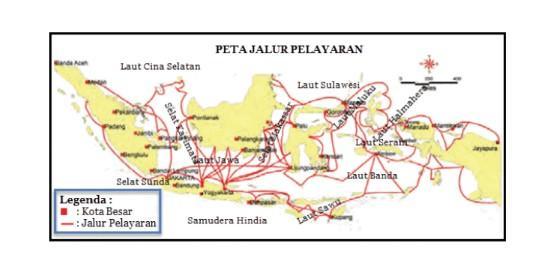 Peta Jalur Pelayaran Antarpulau di Indonesia