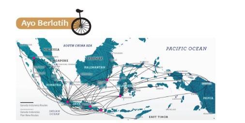 Peta Jalur Penerbangan Antarpulau di Indonesia