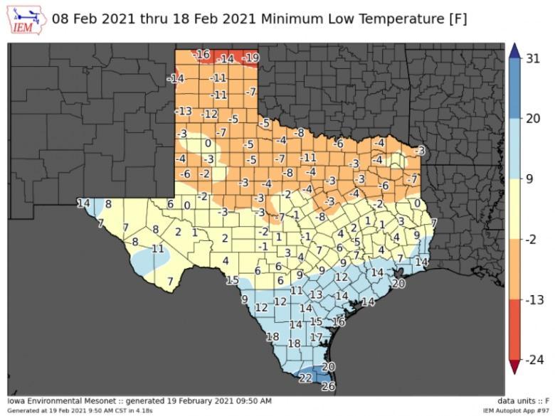 Peta suhu di semua kabupaten di Texas dari 8-18 Februari 2021