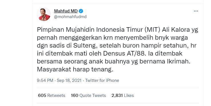 Postingan Twitter @mohmahfudmd Sabtu, 18 September 2021.