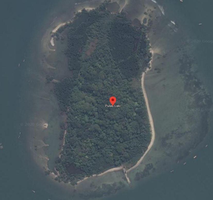 Capture Pulau Laki dari Google Maps, Rabu (20/1/2021), tidak lagi tampak sinyal SOS yang viral di media sosial (Google Maps)