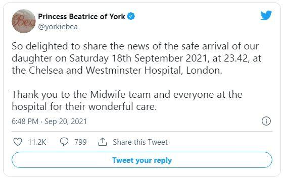 Putri Beatrice mengumumkan kelahiran putrinya