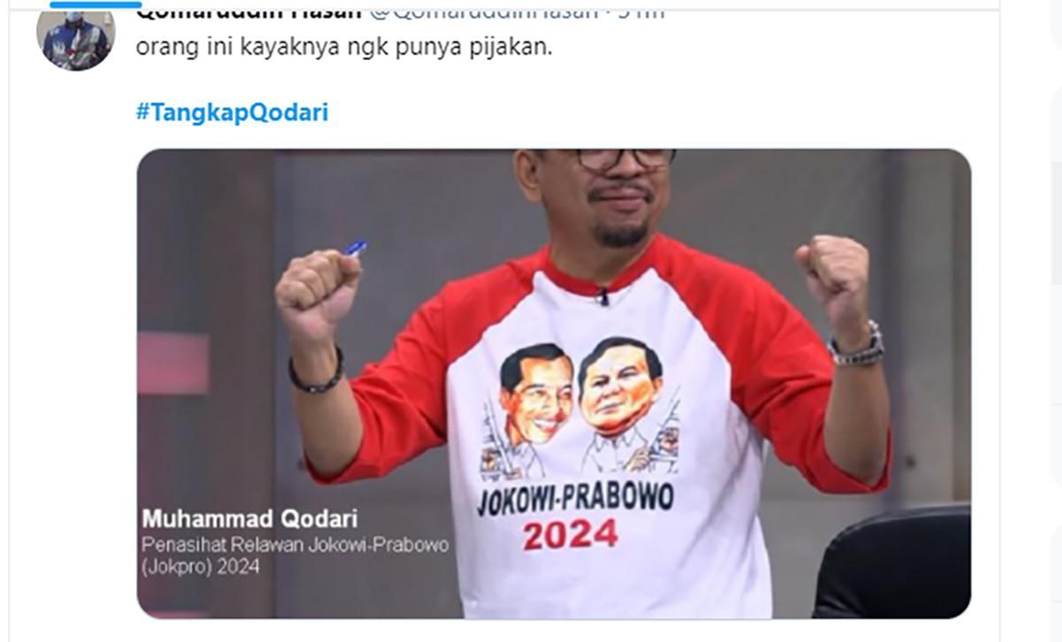 Tagar #tangkapqodari menjadi trending topic di linimasa Twitter, Minggu (20/6/2021).
