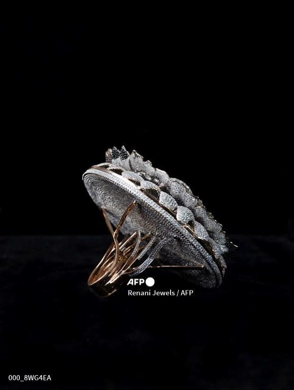 Foto selebaran tak bertanggal ini yang diberikan oleh Renani Jewels pada 4 Desember 2020, menunjukkan sebuah cincin yang disebut Marigold - cincin kemakmuran, pita melingkar dengan 12.638 berlian yang beratnya sedikit di atas 165 gram di Meerut. Seorang penjual perhiasan berusia 25 tahun di India telah menjadi pemegang Rekor Dunia Guinness untuk merancang cincin dengan jumlah berlian terbanyak.