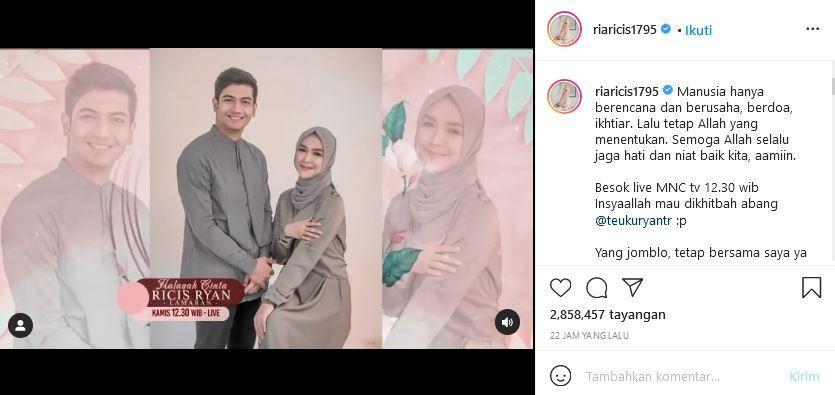 Ria Ricis melalui unggahan Instagram akun pribadinya @riaricis1795, Rabu (22/9/2021).