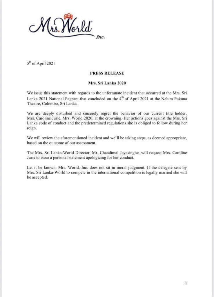 Siaran pers yang diposting ke halaman Facebook Mrs. Sri Lanka World