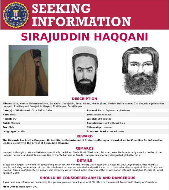 Sirajuddin Haqqani masuk dalam daftar buronan FBI atas serangan teroris