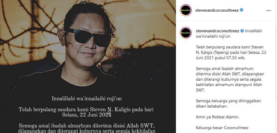 Steven Kaligis, vokalis Band Steven & Coconut Treez meninggal dunia. (tangkap layar instagram @stevenandcoconuttreez)