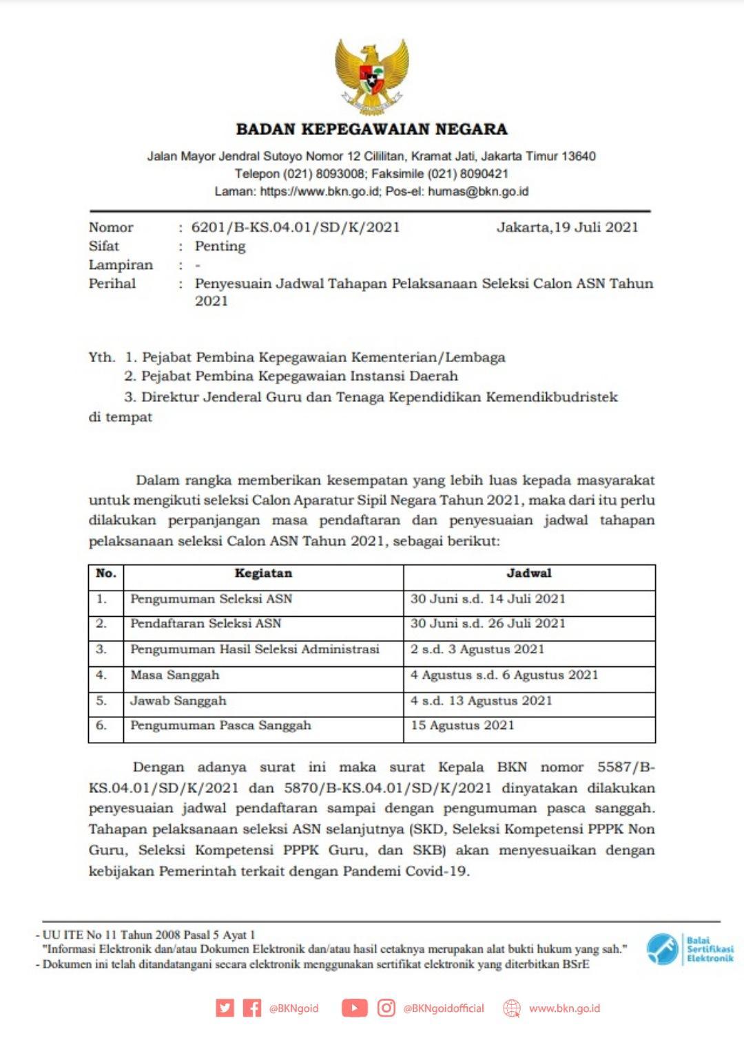Surat BKN tentang perpanjangam jadwal pendaftaran CASN 2021.