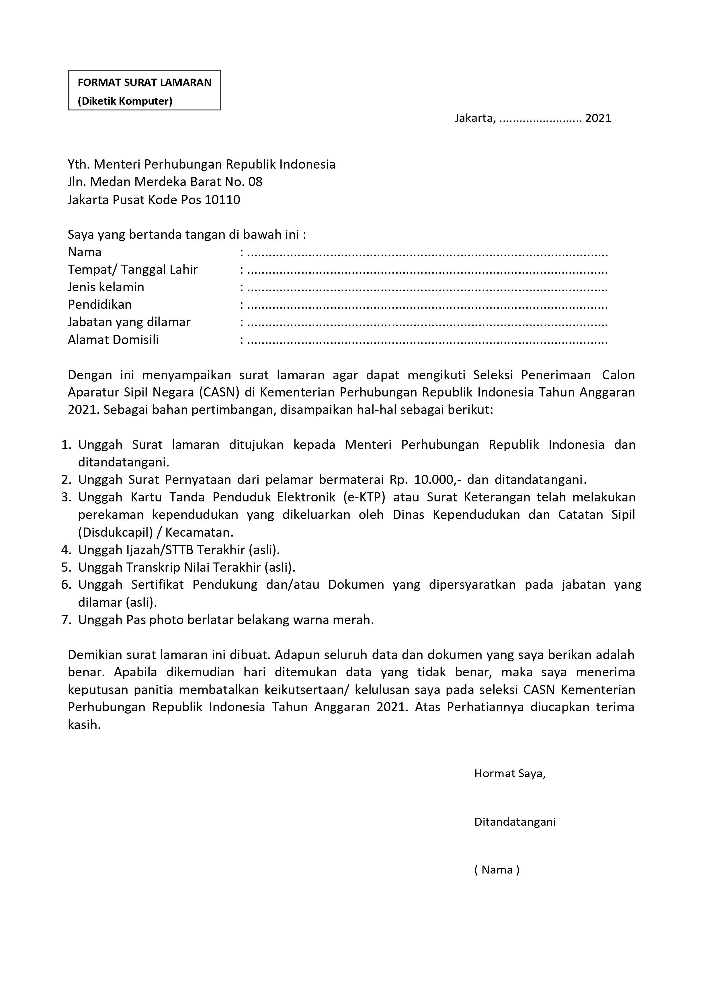 Surat Lamaran CPNS Kemenhub 2021