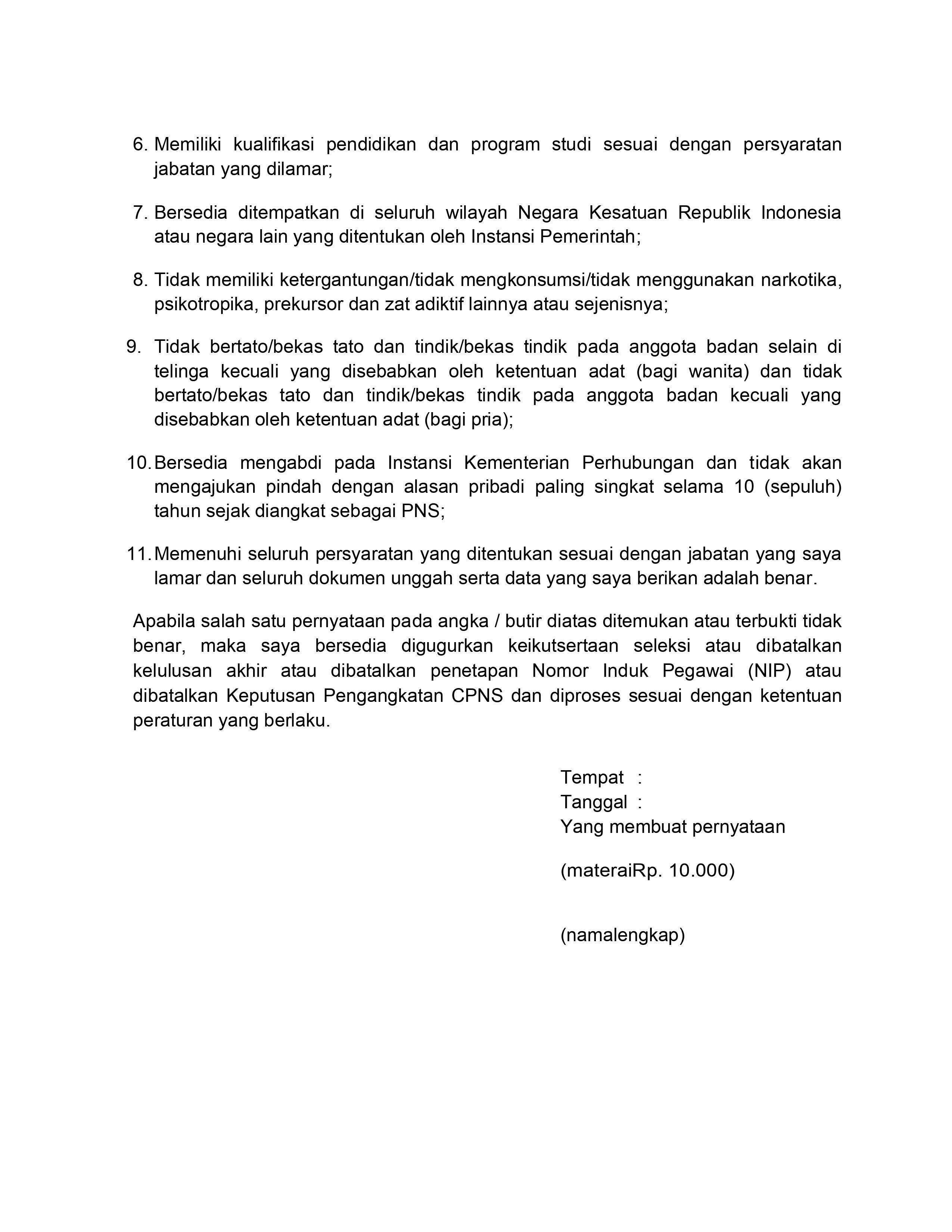 Surat Pernyataan CPNS Kemenhub halaman 2
