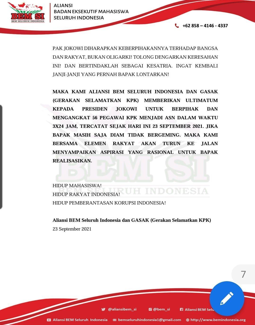 Surat ultimatum BEM SI ke Presiden Jokowi