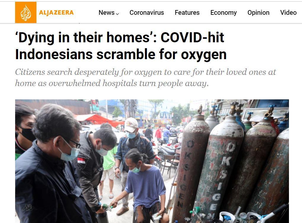 Tabung Oksigen Langka Disorot Al Jazeera