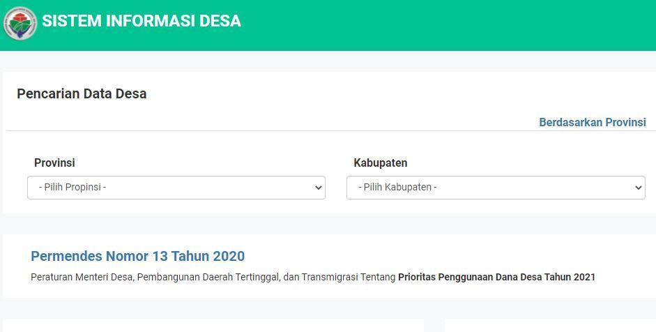 Tampilan laman sid.kemendesa.go.id untuk cek penerima BLT Dana Desa.