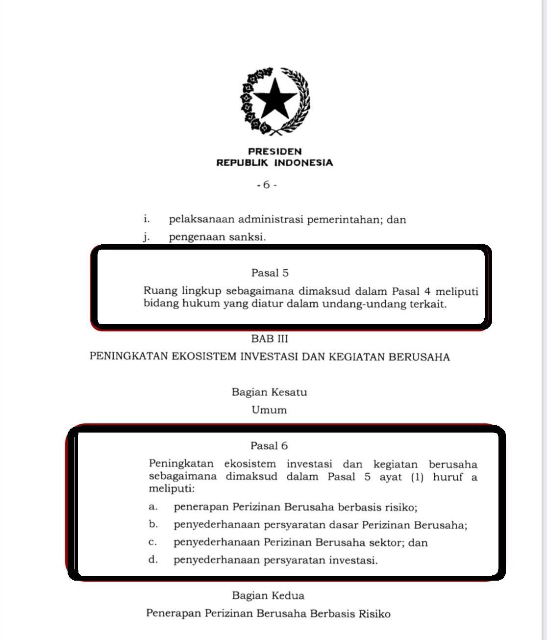 Tangkapan layar bagian Pasal 5 dan 6 UU Cipta Kerja