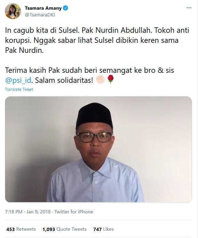 Tangkap layar cuitan Ketua DPP Partai Solidaritas Indonesia (PSI) Tsamara Amany