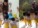VIRAL Video 3 Anak Kembar Antar Ayahnya Berangkat Kerja, sang Ibu: untuk Membiasakan Cium Tangan