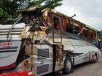 Begini Penampakan Bangkai Bus Sri Padma Kencana Usai Dievakuasi dari Lokasi Kejadian