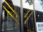 Kaca Bus TransJakarta Pecah Dilempar Batu Orang Tak Dikenal, Pengelola Periksa CCTV