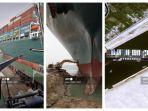 FOTO - Lalu Lintas Terusan Suez Terhenti, Kapal Kontainer Ever Given Terjebak seperti Paus Terdampar