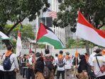 Massa Gelar Aksi Bela Palestina di Kedubes Amerika: Stop Bombing Gaza